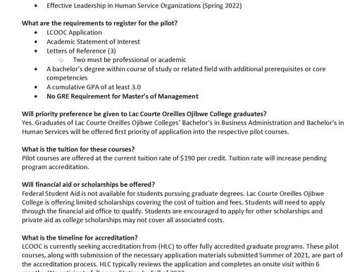 LCO Ojibwe College Announces Pilot Master's Degree Programs