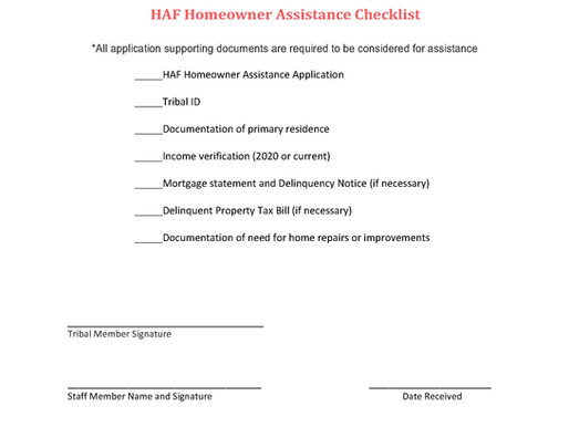 Homeowner Assistance Fund Available to Assist Homeowners on the Reservation