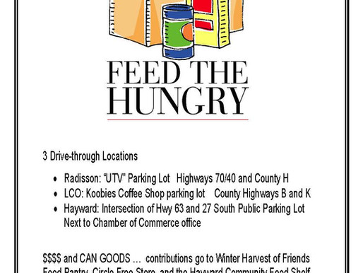 """Cash or Cans: """"Drive-through"""" Food Drive to be Held in Radisson, LCO, and Hayward"""