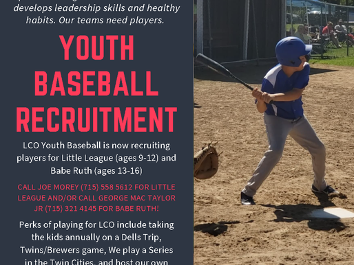 LCO Youth Baseball Teams Recruiting for Players Ages 6 to 15