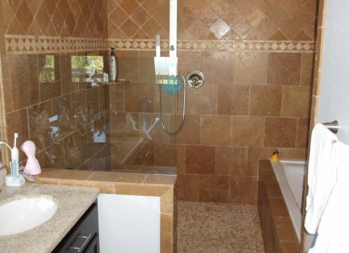 Master Bath Walk In Shower and Custom 6 Ft Jacuzzi Tub