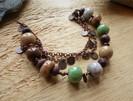 Bracelet ethnique chunky perles gris mar