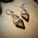 boucles oreilles jaune céramique triangl