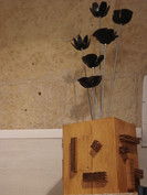Bloc bois bouquet de fleurs vinyl