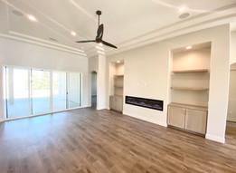 Living Room Built-Ins with floating shelves