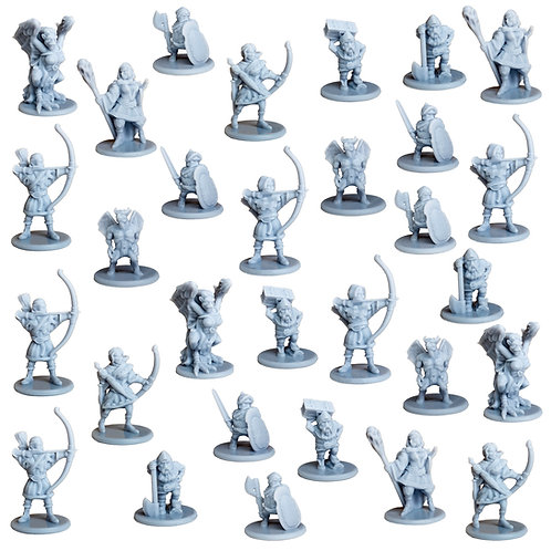 Elves, Dwarfs and Monsters Miniature Fantasy Figurines Set of 30