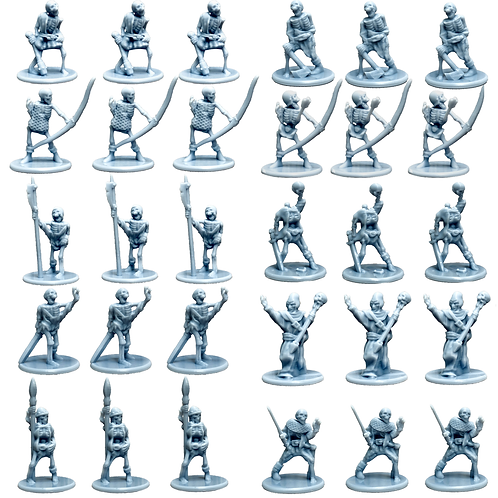 Undead Miniature Fantasy Figurines Set of 30