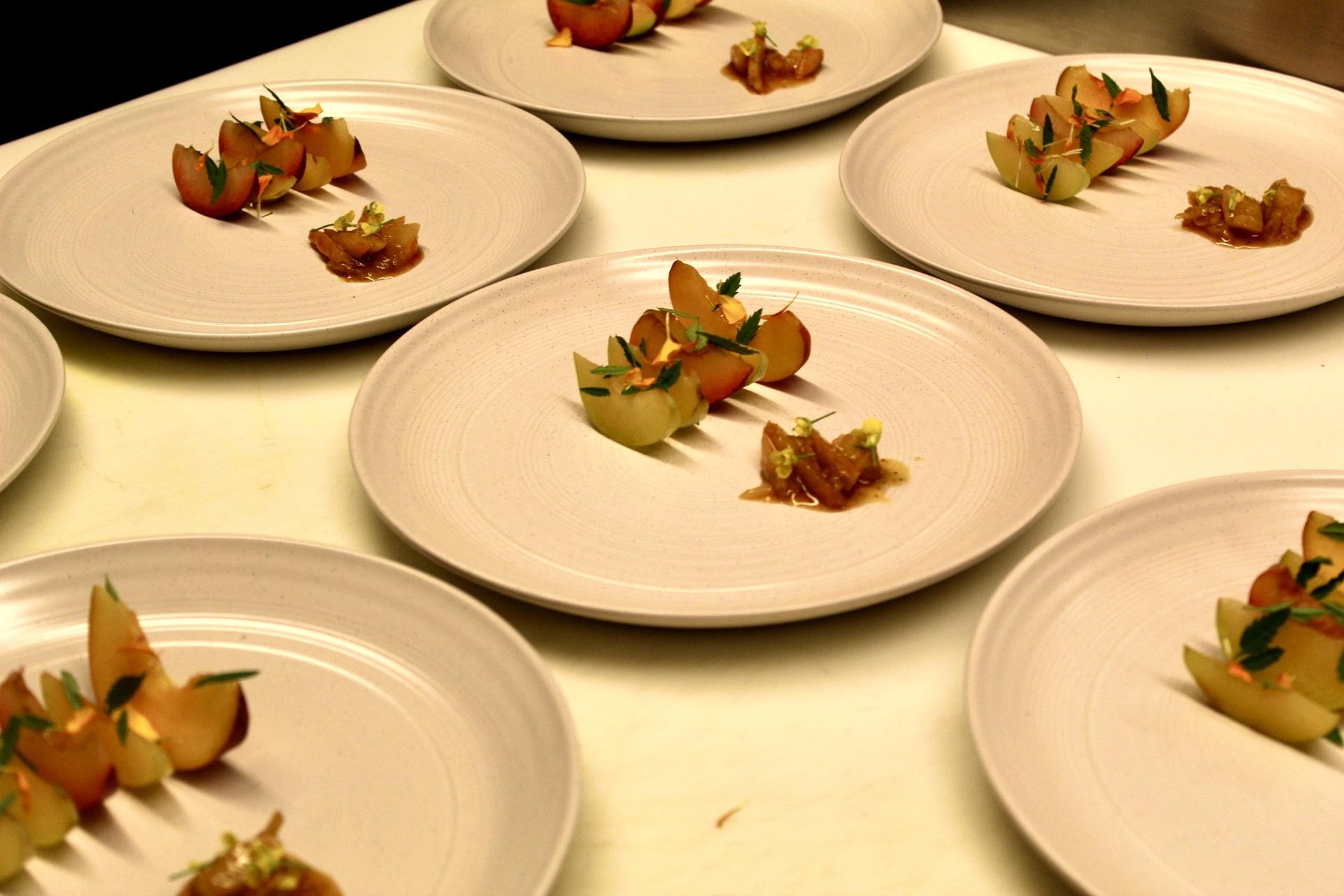 Shrimp and Stone Fruit with Marigold