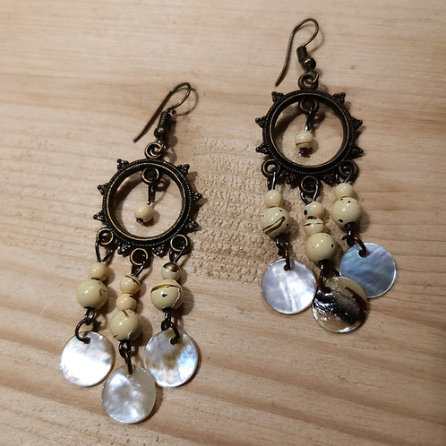 Brass Shell Pearl Earrings