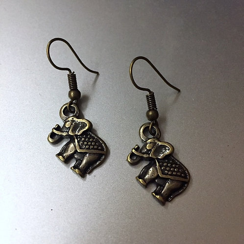 Elephant Brass Earrings