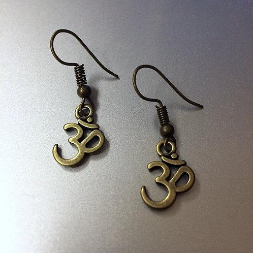 Om Brass Earrings
