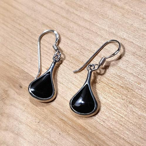 Silver Onyx Shell Madrepore Earrings