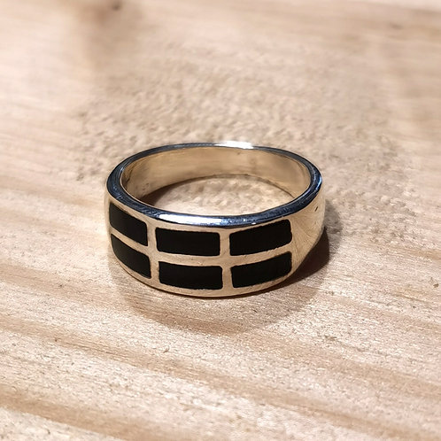 Silver Onyx Madrepore Ring