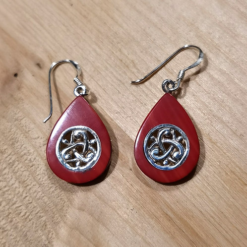 Silver Shell Onyx Coral Earrings