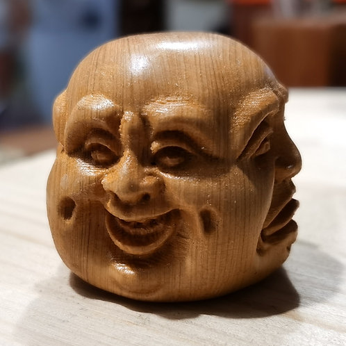 Wooden Buddhist Monk 4 Faces