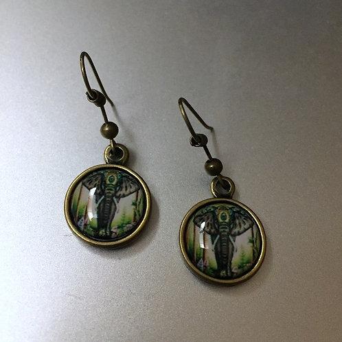 Elephant Brass Color Earrings