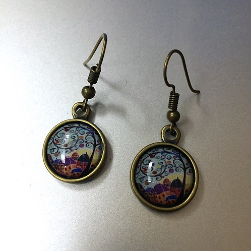 Tree Brass Color Earrings