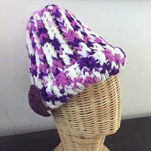 Purple Rose Wool Hat