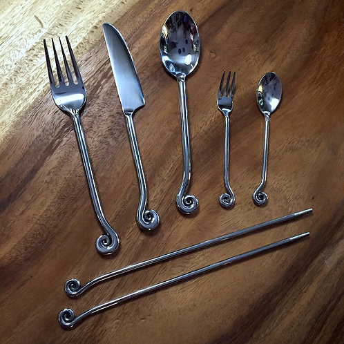 Curl Steel Cutlery Set x6