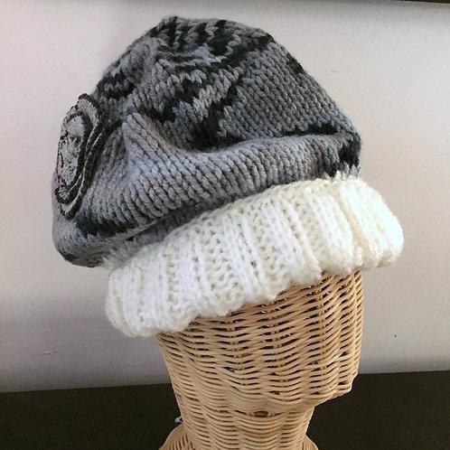 Grey Rose Wool Hat