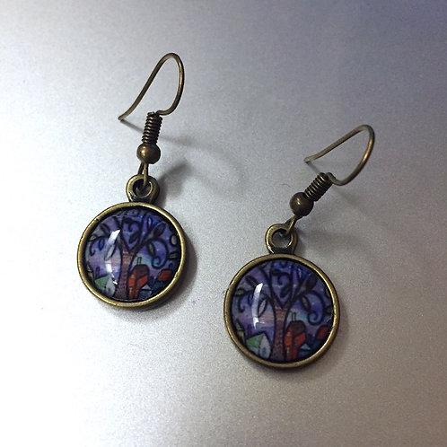 Tree Brass Color Earrings