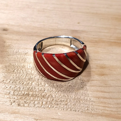 Silver Coral Onyx Shell Ring