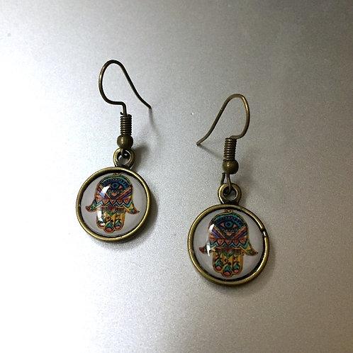 Hamsa Brass Color Earrings