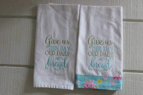 Embroidered GIVE US THIS DAY OUR DAILY BREAD SET