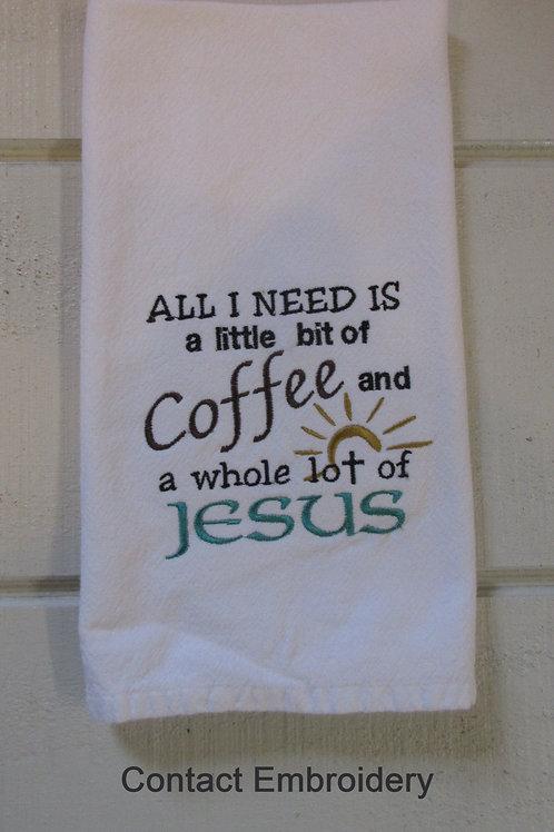 Coffee and Jesus teal no trim