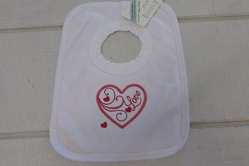 Embroidered Red heart baby bib