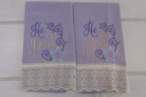 Embroidered He is risenTea towel