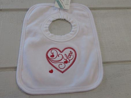 Embroider Valentine Bibs