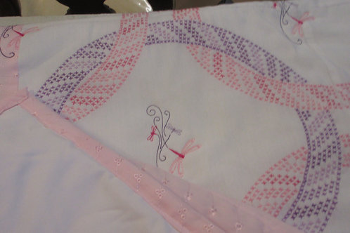 Handmade cross stitched baby quilt