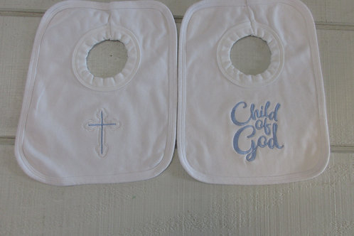Embroidered  set blue baby bib