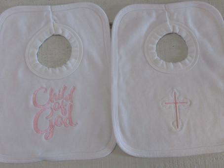 Embroider Christening Bibs