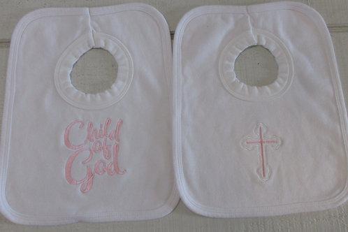 Embroidered  set pink baby bib