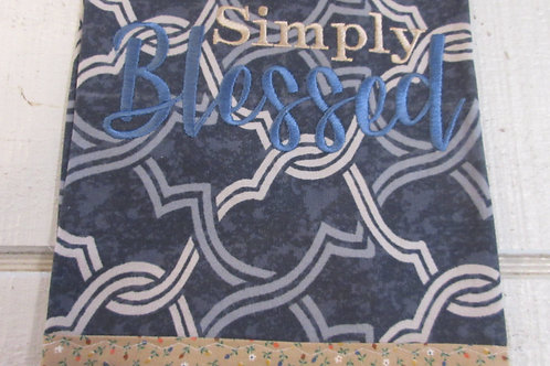 Embroidered Simply Blessed on Grey