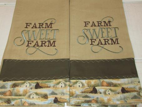 Embroidered Farm Sweet Farm Tea towels set.