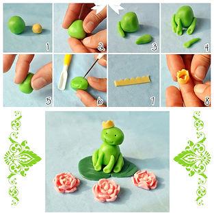 фигурки из мастики, как сделать фигурки из мастики, лягушка из мастики