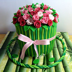 цветы из мастики, торт -  букет