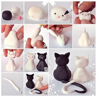 фигурки из мастики, как сделать фигурки из мастики, коты из мастики