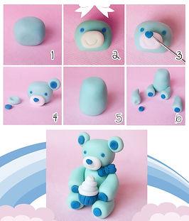 фигурки из мастики, как сделать фигурки из мастики, мишка из мастики