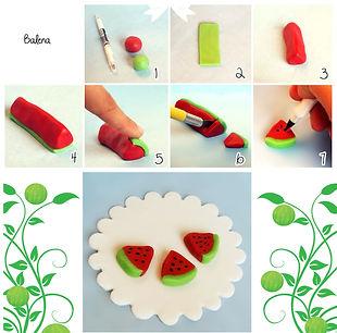 фигурки из мастики, как сделать фигурки из мастики, арбуз из мастики