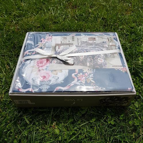 Le Vele Ellis Indigo Cotton Flanel Bed Set