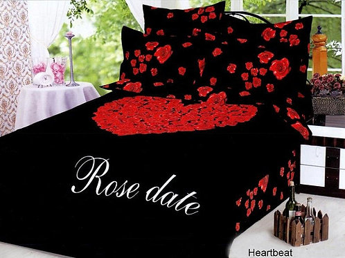 Спален комплект памучен сатен HEART BEAT BLACK