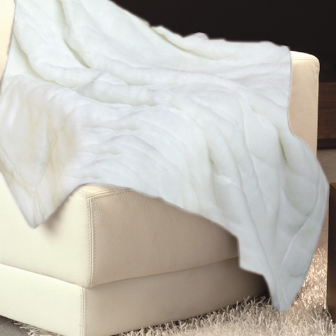 Imitation Fur Bedspread White WJ-2