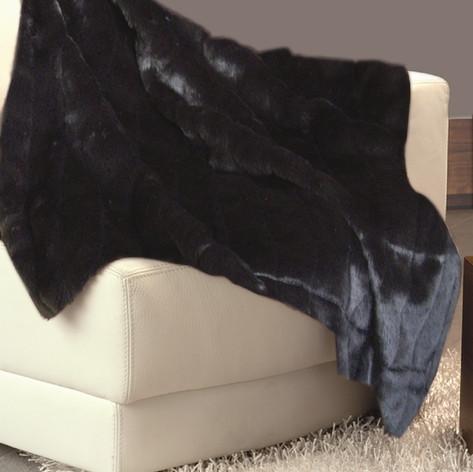 Imitation Fur Bedspread Black WJ-2
