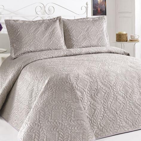 Velour Bedspread Set Stone