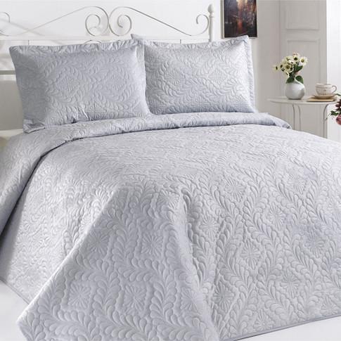 Velour Bedspread Set Sky Blue