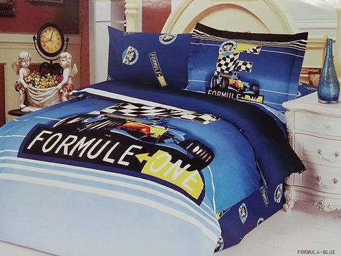 Спален комплект памучен сатен FORMULA-BLUE